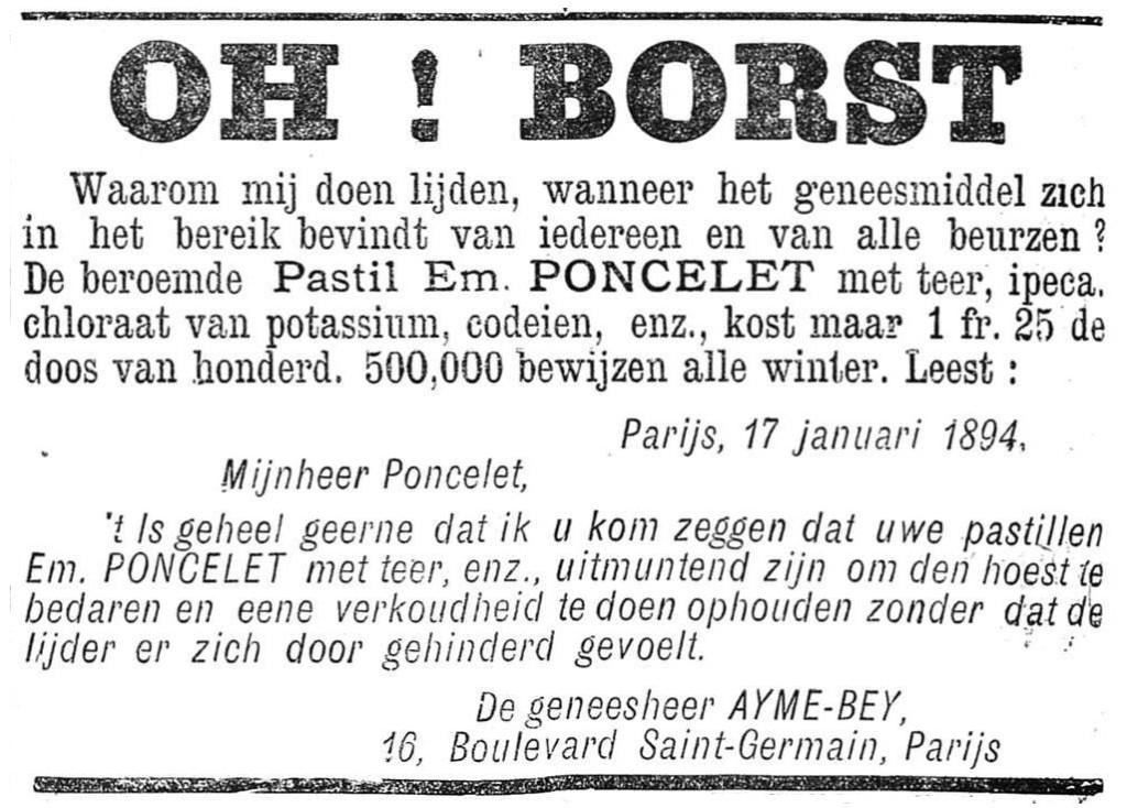 Het Nieuws Van Den Dag, 16 augustus 1894 Oh! Borst!