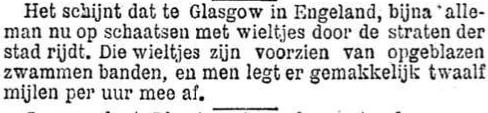 Het Nieuws Van Den Dag, 19 september 1894 Schaatsen met wieltjes