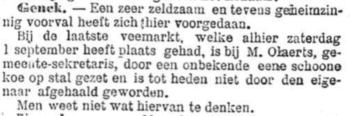 Het Nieuws Van Den Dag, 21 september 1894 Geheimzinnig voorval