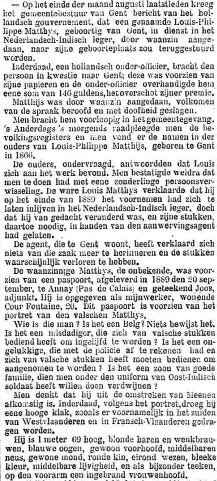 Het Nieuws Van Den Dag, 24 september 1894 Op de voorarm, een ingebrand vrouwenhoofd