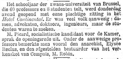 Het Nieuws Van Den Dag,  27 oktober 1894 De zwans-universiteit van Brussel