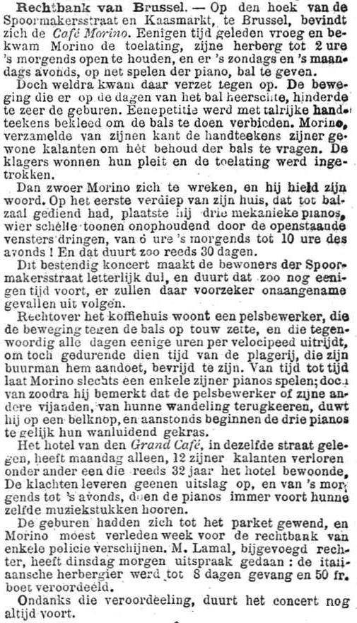 Het Nieuws Van Den Dag, 5 september 1894 Geluidsoverlast