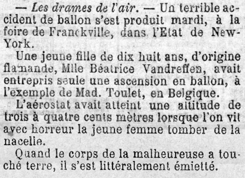 Journal du Loiret, 15 oktober 1894 Littéralement émietté