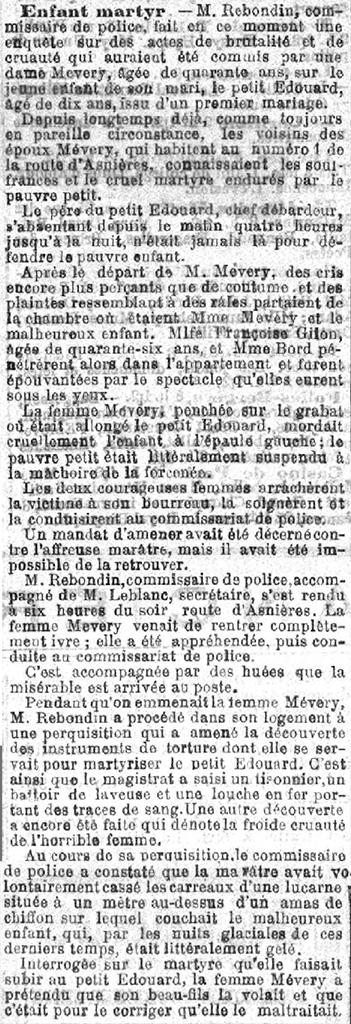 La Justice, 31 januari 1899 Enfant martyr