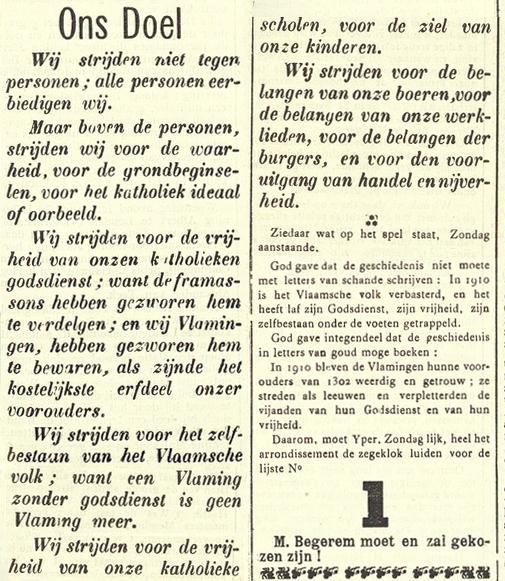 Nieuwsblad van Yperen en van het Arrondissement, 21 mei 1910 De framassons hebben gezworen onze godsdienst te verdelgen