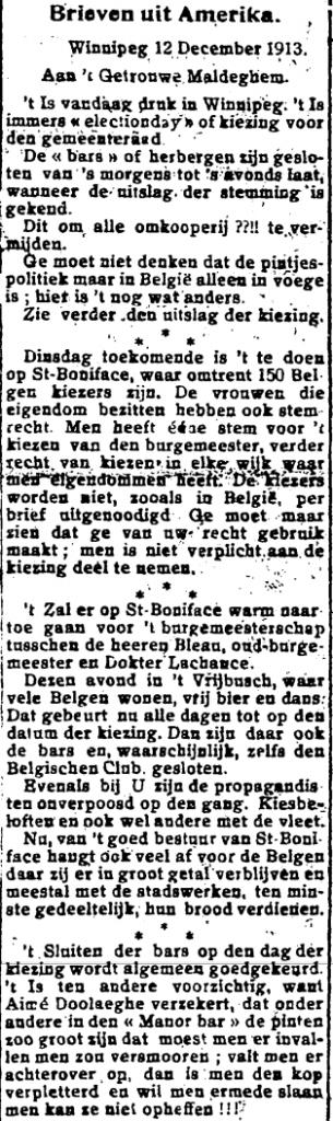 't Getrouwe Maldeghem, 4 januari 1914 Kiezing in Winnipeg