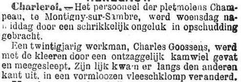 Het Nieuws Van Den Dag,  10 november 1894 Zijn lichaam kwam er aan de andere kant uit