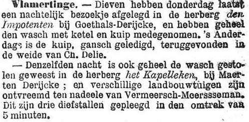Het Nieuws Van Den Dag,  13 november 1894 De wasdieven van Vlamertinge