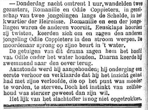 Het Nieuws Van Den Dag,  2 november 1894 Odile verdronken