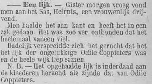 Vooruit, 21 juni 1895 Odile gevonden